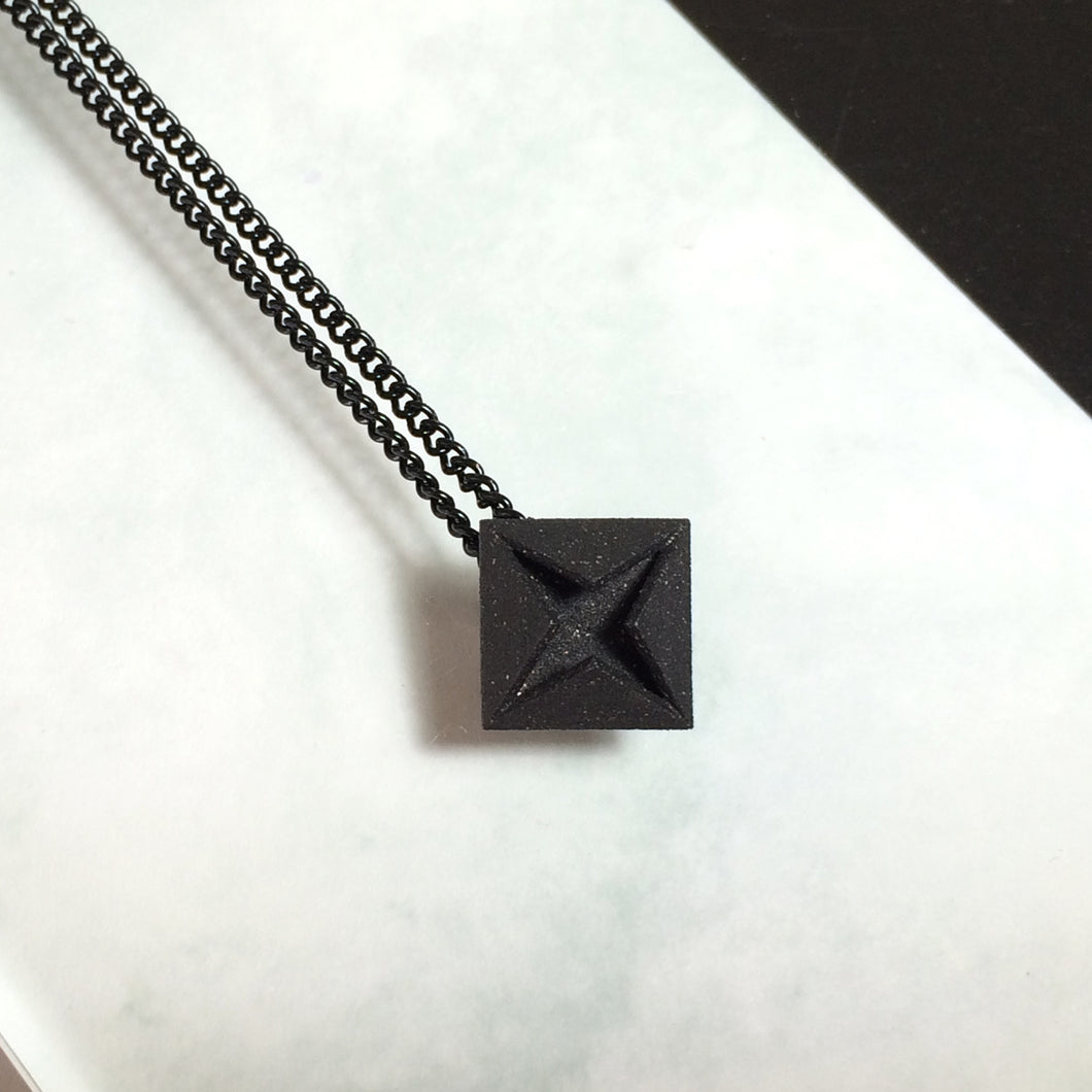 3D Printed Black Steel Diamond Necklace