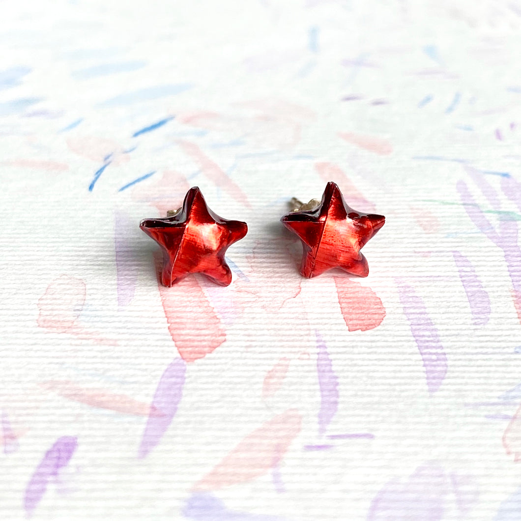 Lucky Star Earrings (Shinny Red)