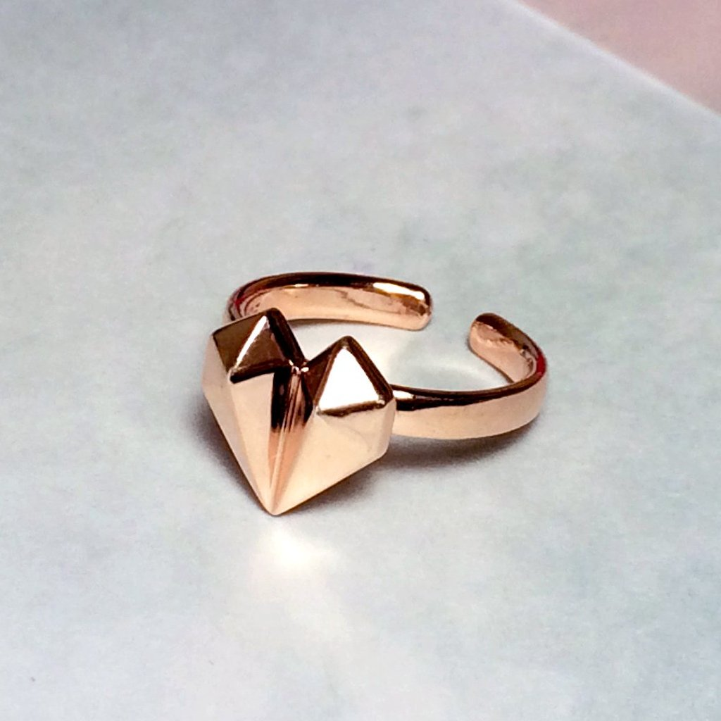 Diamond Heart 18K Rose Gold Ring
