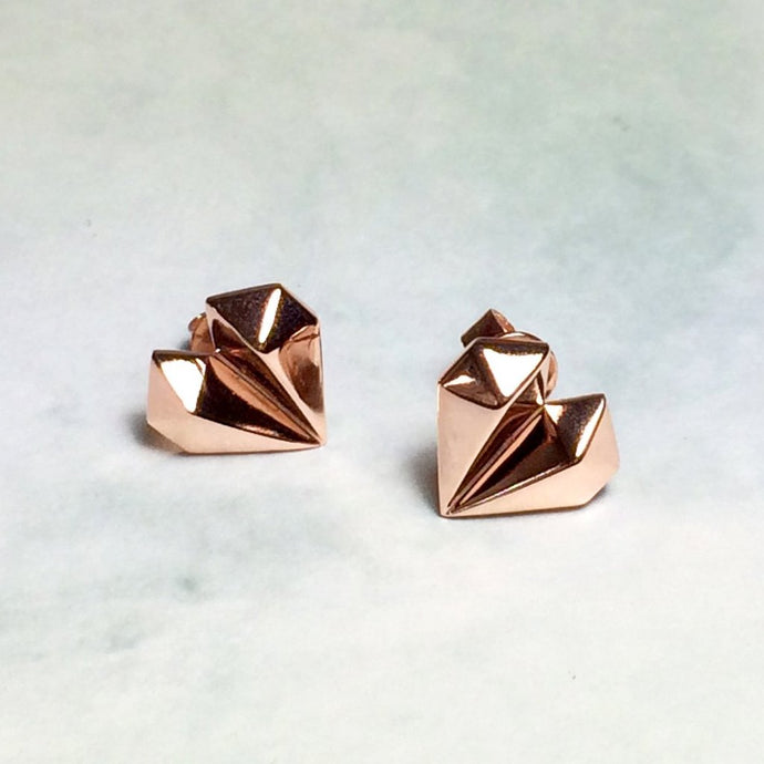 Diamond Heart 18K Rose Gold Earrings