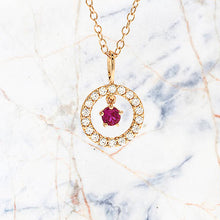Precious Stone Ruby Rose Gold Necklace