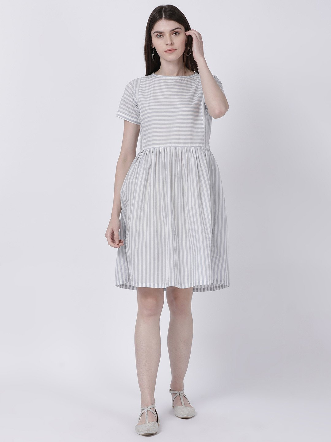 Grey Striped Shift Dress - Rossbelle