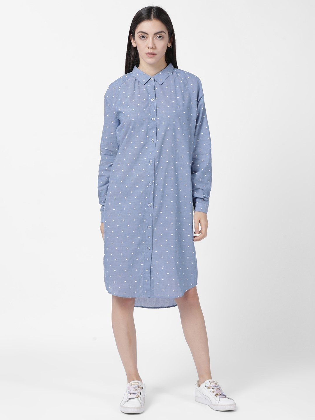 Blue Chambray Heart Print Shift Dress