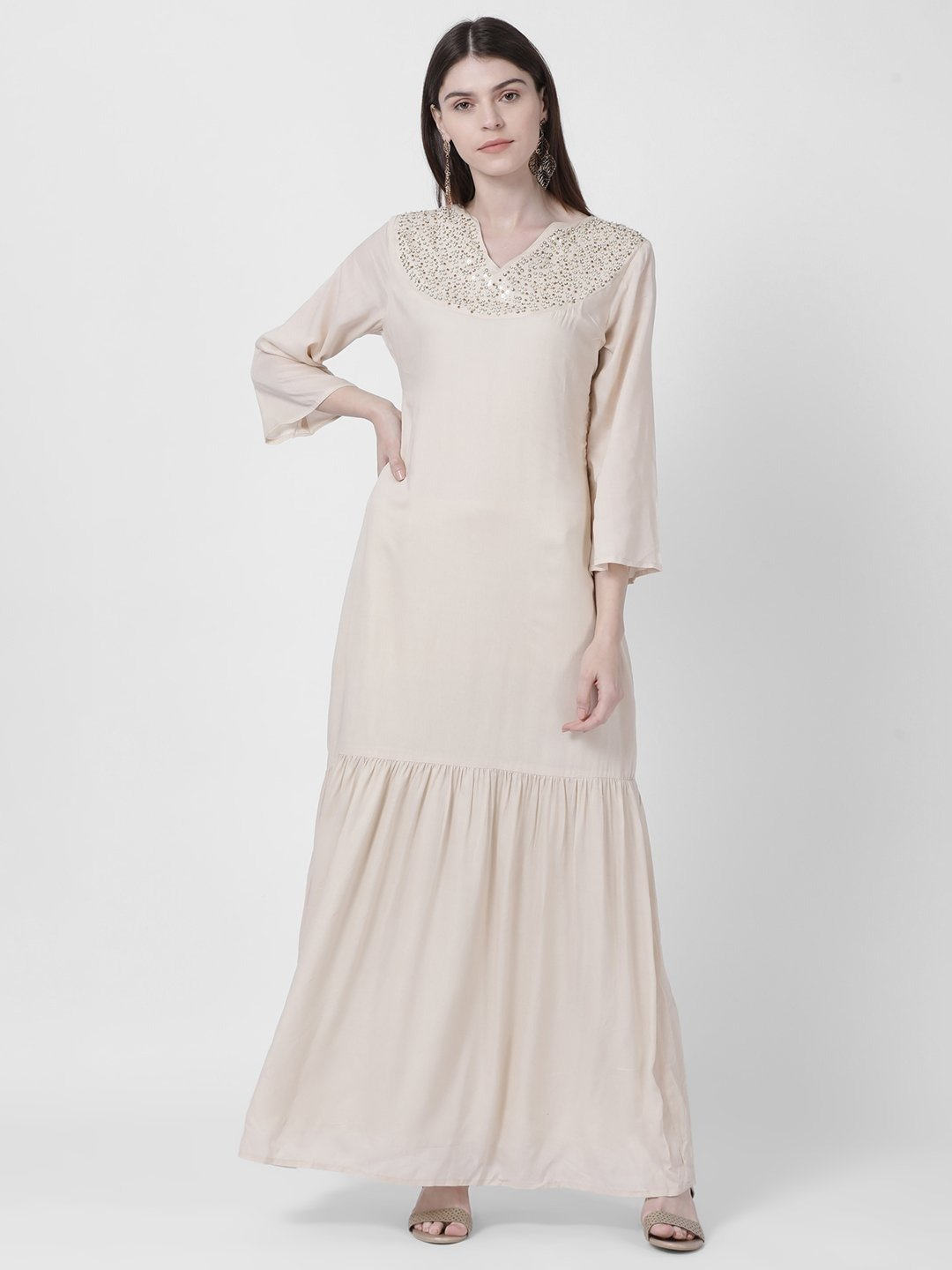 IVORY BEIGE EMBELLISHED NECK MAXI DRESS - Rossbelle