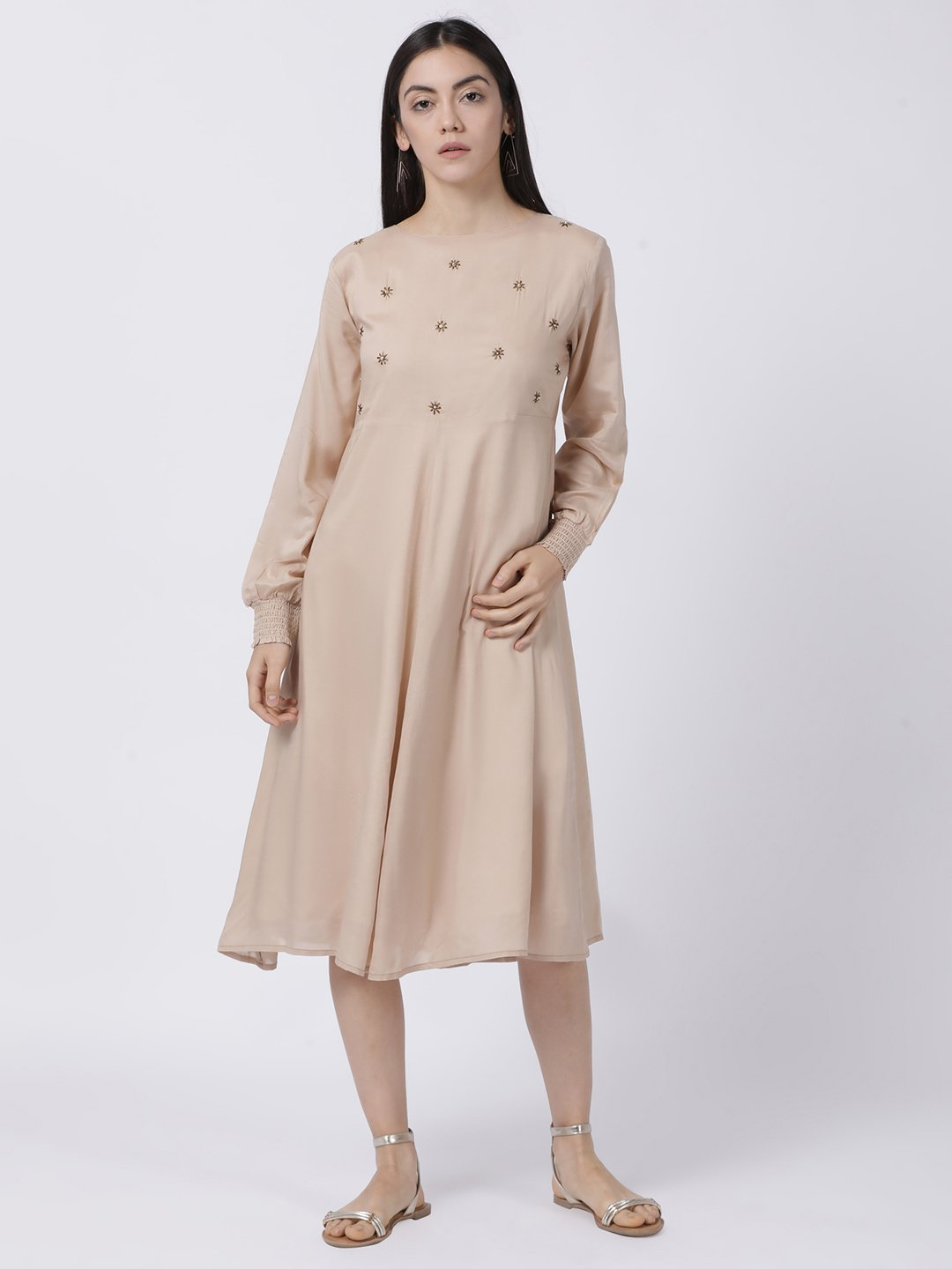 BEIGE SMOCKED SLEEVE DRESS