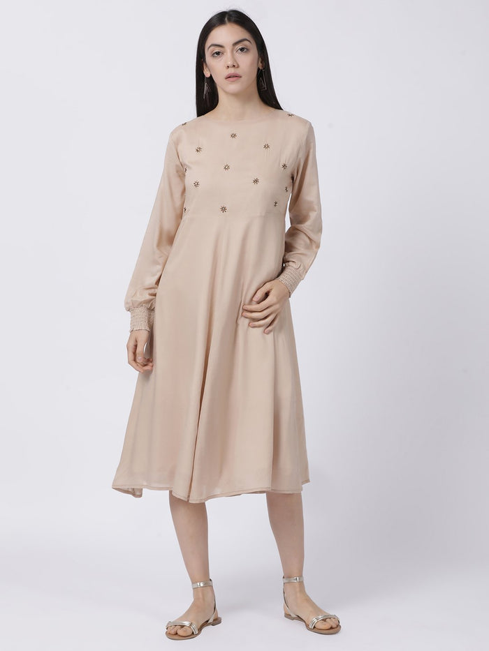 BEIGE SMOCKED SLEEVE DRESS - Rossbelle