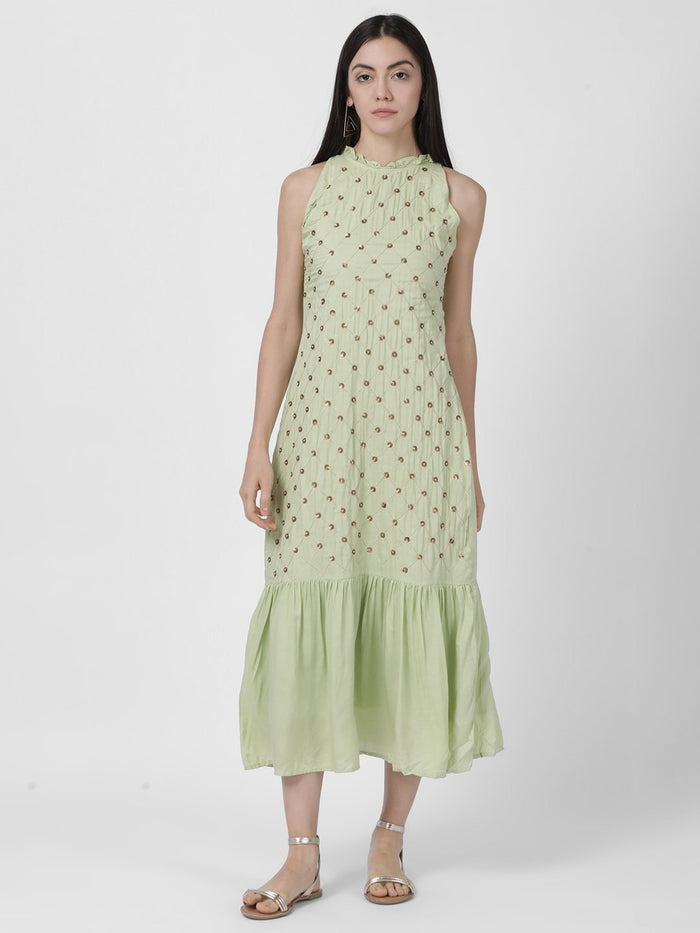 ALL OVER EMBROIDERED DRESS WITH RUFFLE AT NECK - Rossbelle