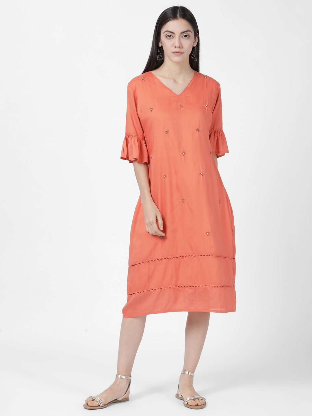 CORAL CONTRAST HEM DRESS