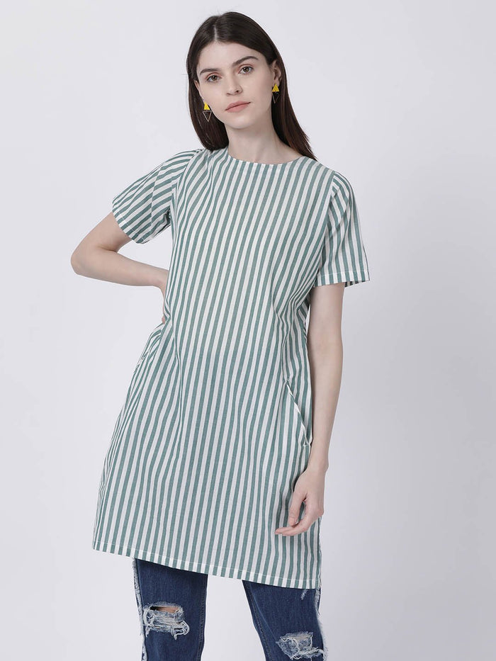 Green Half Sleeve Striped Dress - Rossbelle
