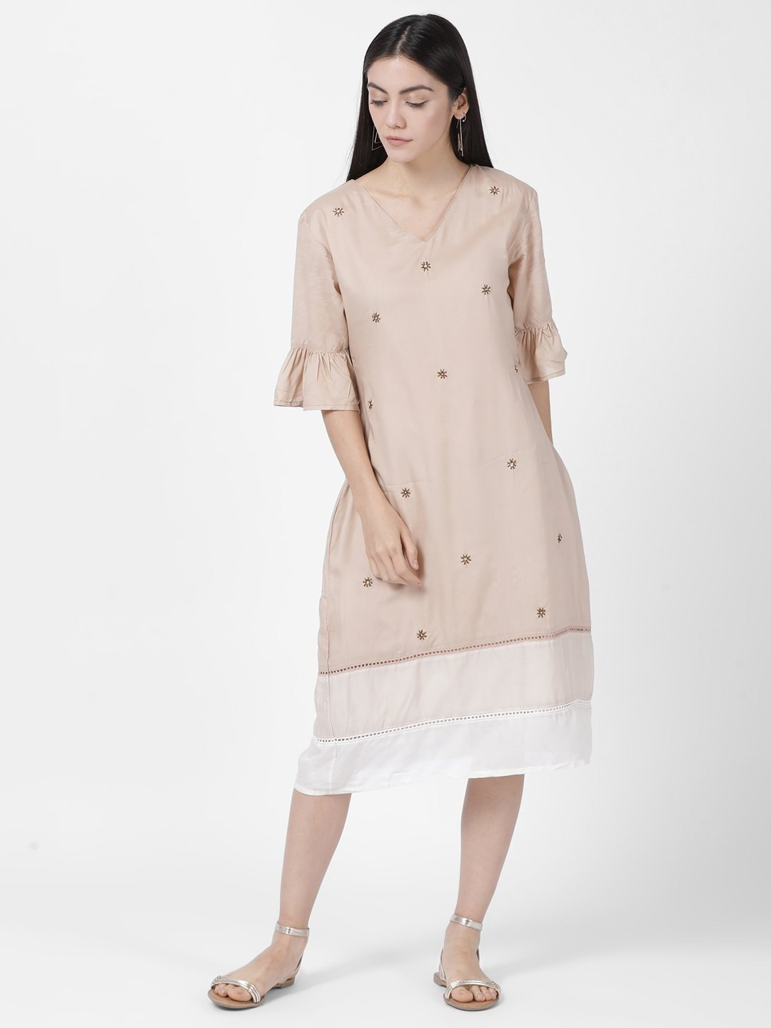 BEIGE CONTRAST HEM DRESS