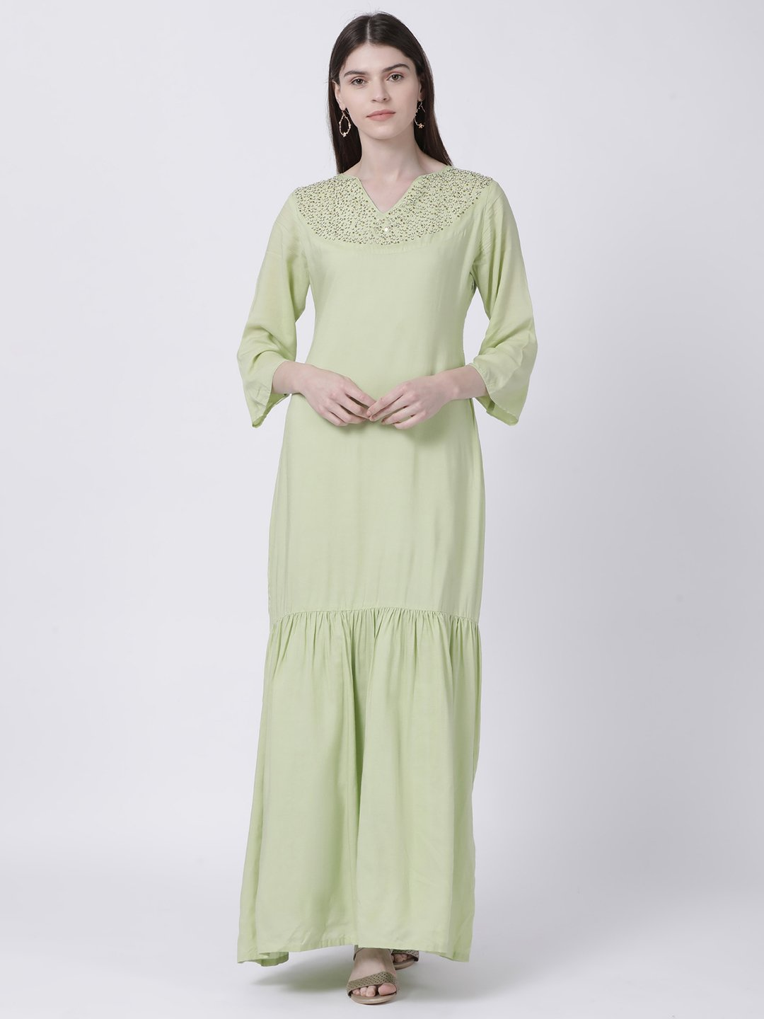 GREEN EMBELLISHED NECK MAXI DRESS - Rossbelle