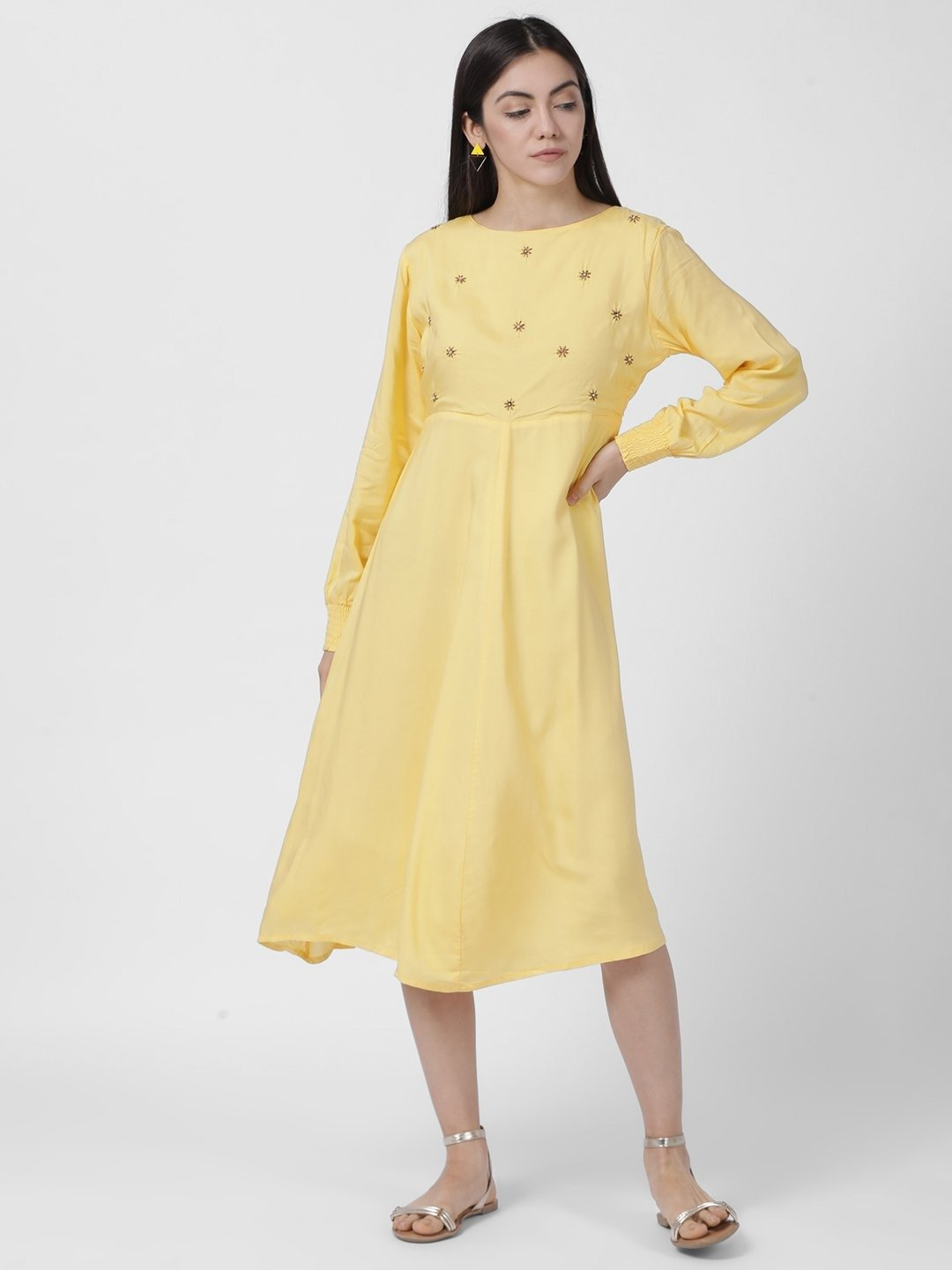 YELLOW SMOCKED SLEEVE DRESS - Rossbelle