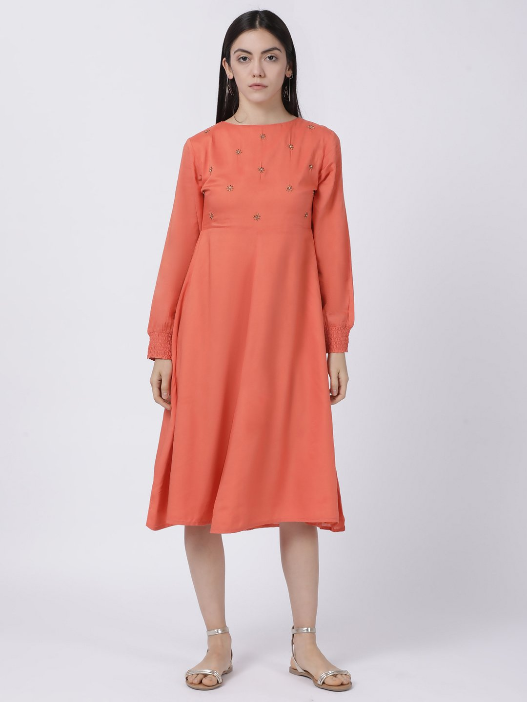 CORAL SMOCKED SLEEVE DRESS
