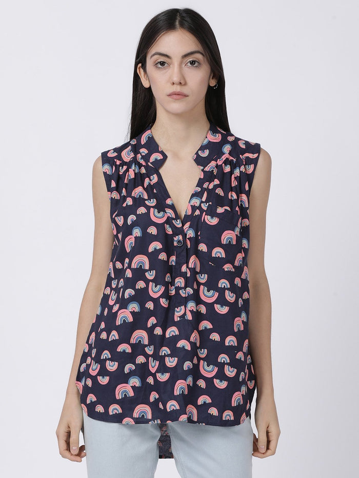 Sleeveless Navy Blue Printed Top - Rossbelle