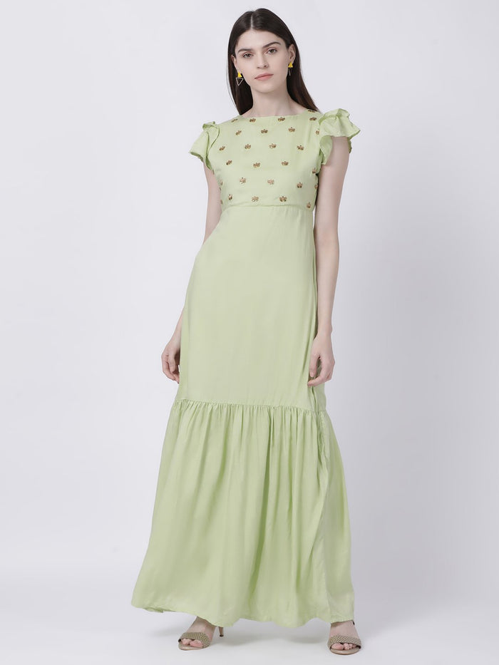 GREEN EMBELLISHED EMPIRE WAIST DRESS - Rossbelle
