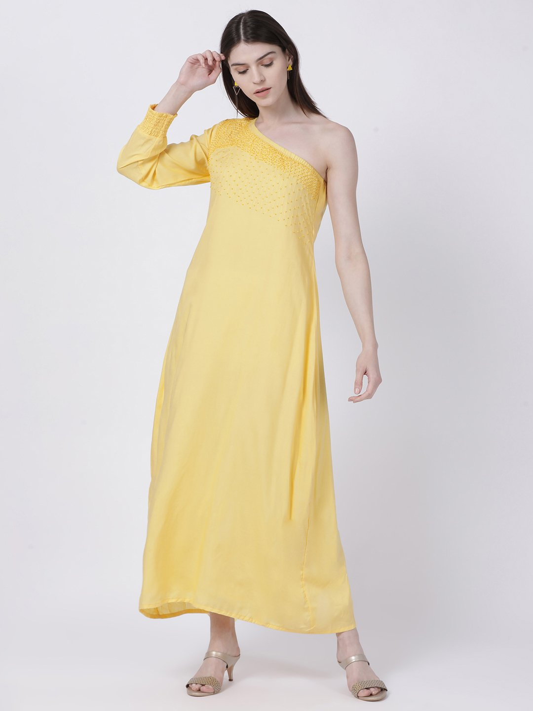 ONE SHOULDER YELLOW DRESS WITH EMBELLISHED NECKLINE - Rossbelle
