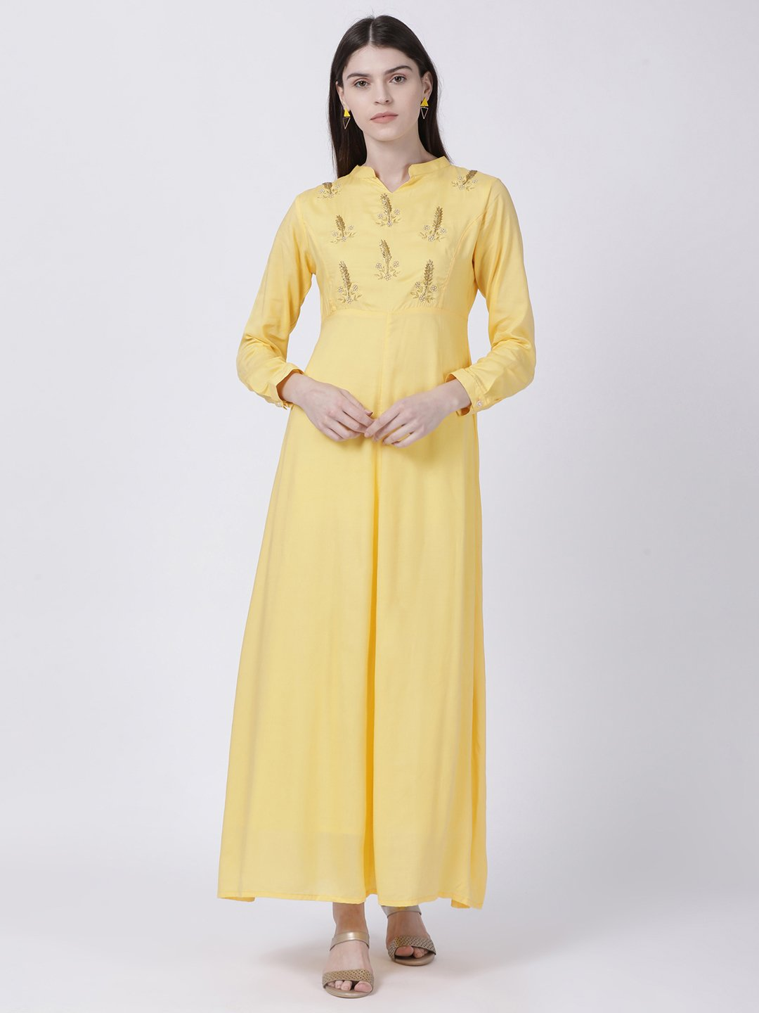PRINCESS CUT YELLOW DRESS WITH CONTRAST CUFF AND NECK