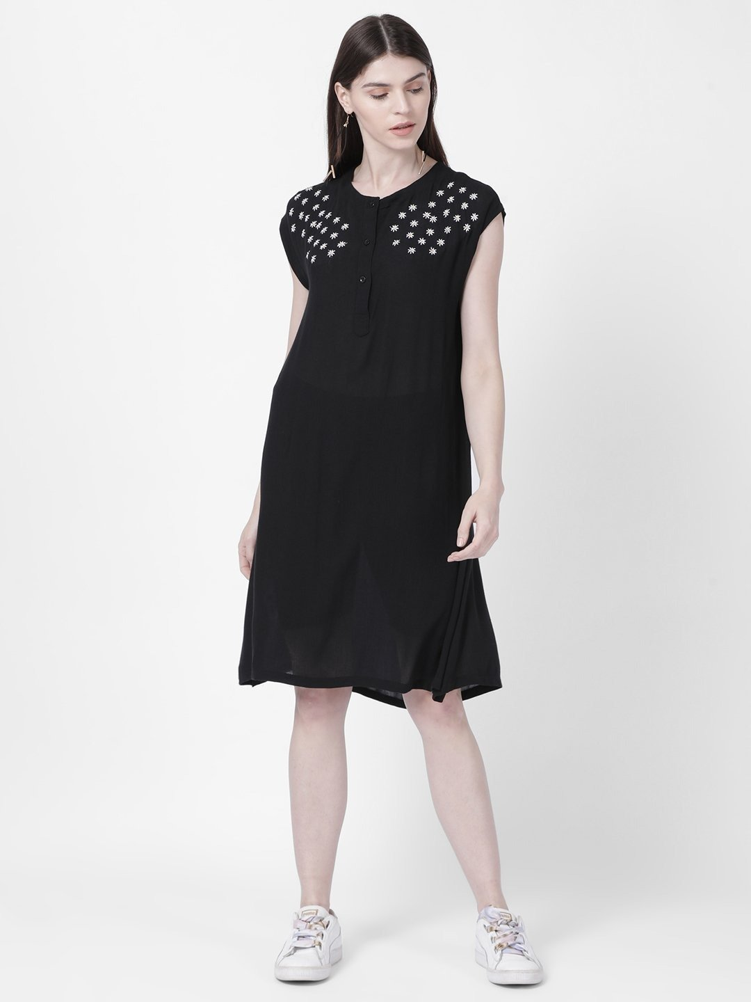 Embroidered Rayon Crepe Black Dress