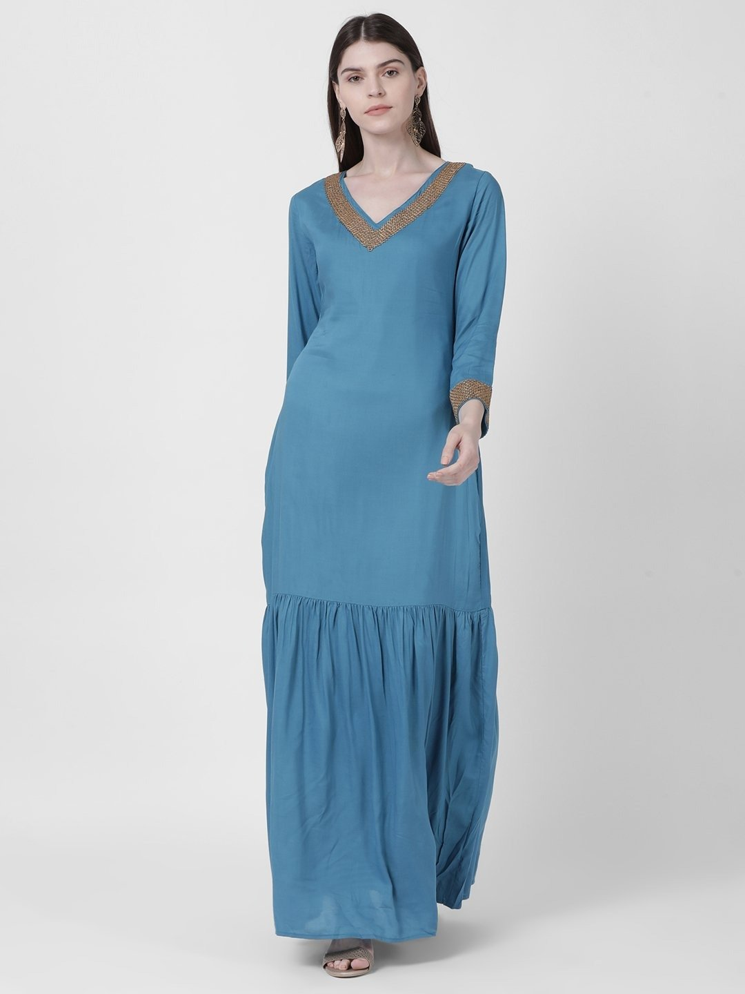 BLUE KAFTAN EMBELLISHED DRESS - Rossbelle