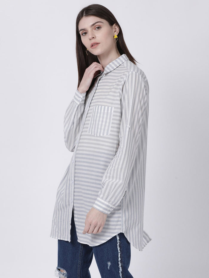 Grey Striped Shirt Tunic/Dress - Rossbelle