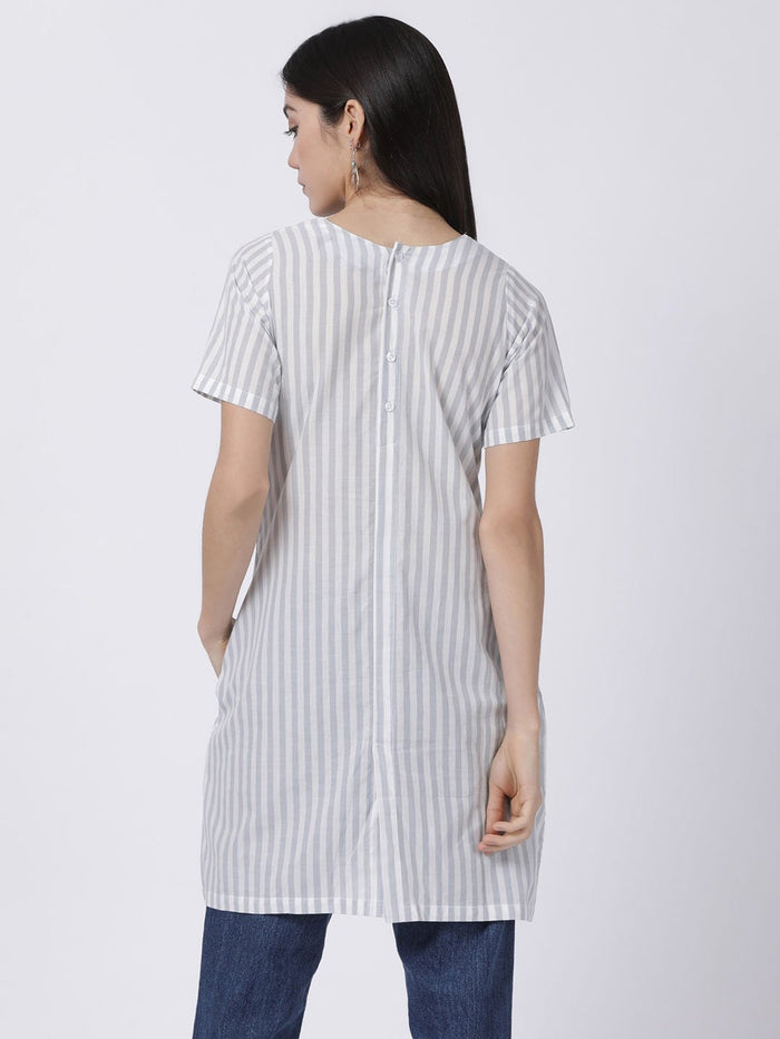 Grey Half Sleeve Striped Dress - Rossbelle