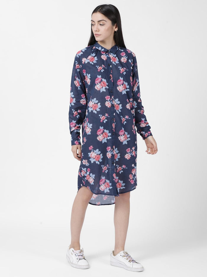 Navy Blue Printed Floral Print Shift Dress - Rossbelle