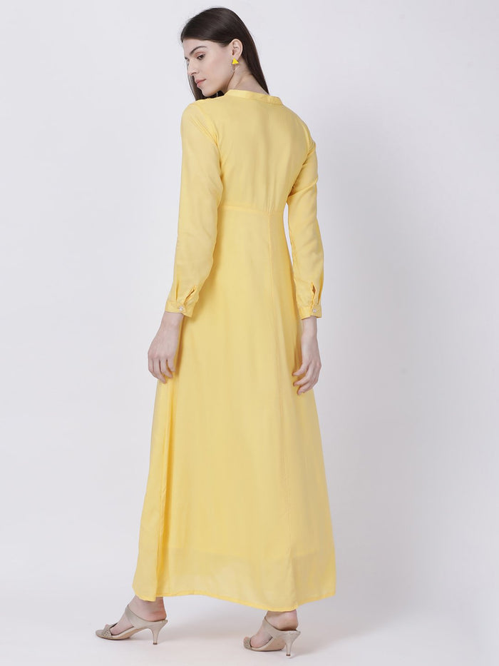 PRINCESS CUT YELLOW DRESS WITH CONTRAST CUFF AND NECK - Rossbelle