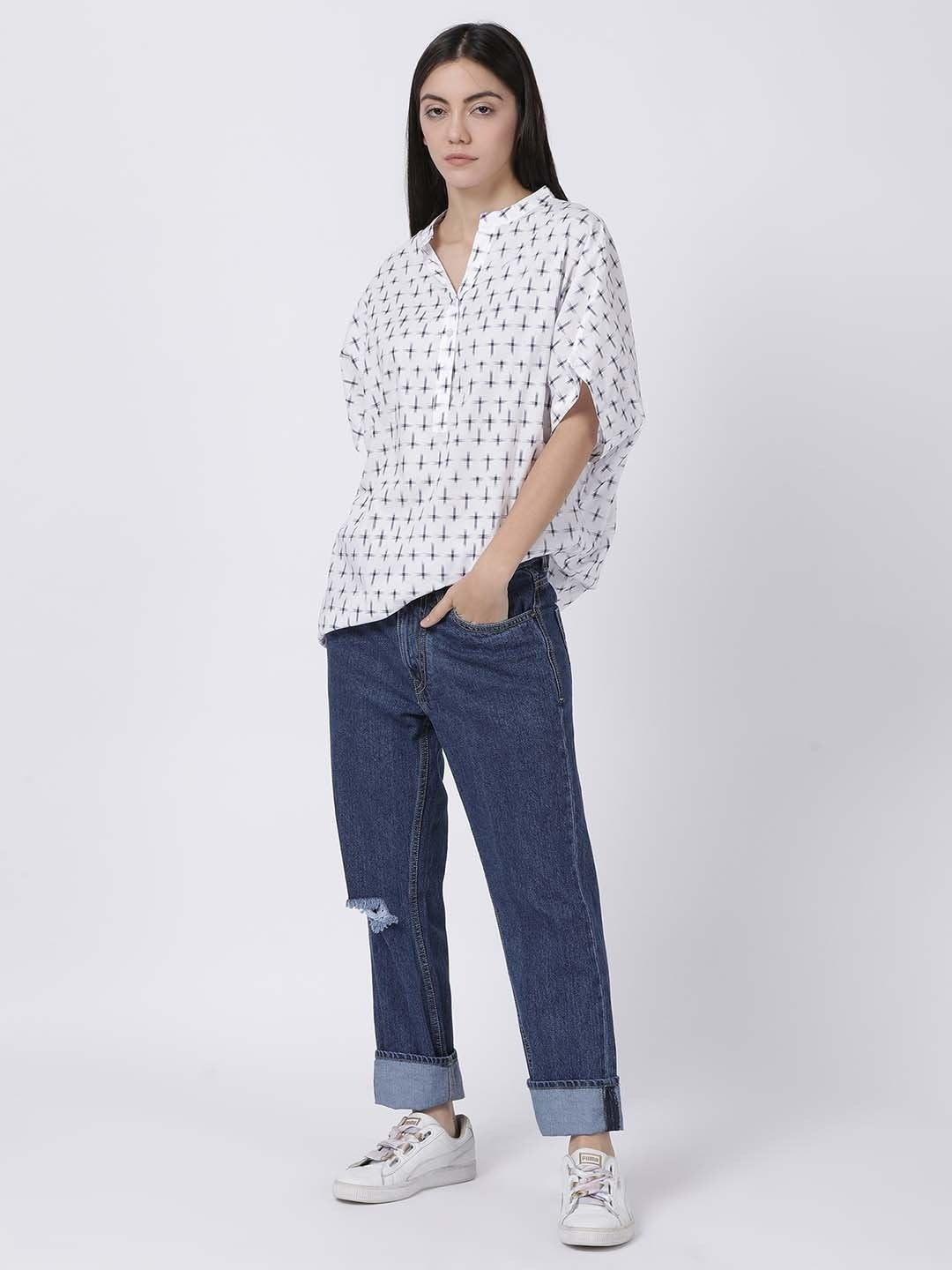 Cambric White Kimono Top With Navy Blue Cross Weave - Rossbelle