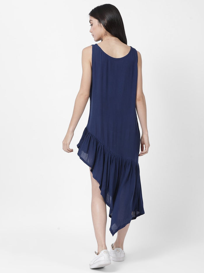 Asymmetrical Rayon Crepe Navy Blue Dress - Rossbelle