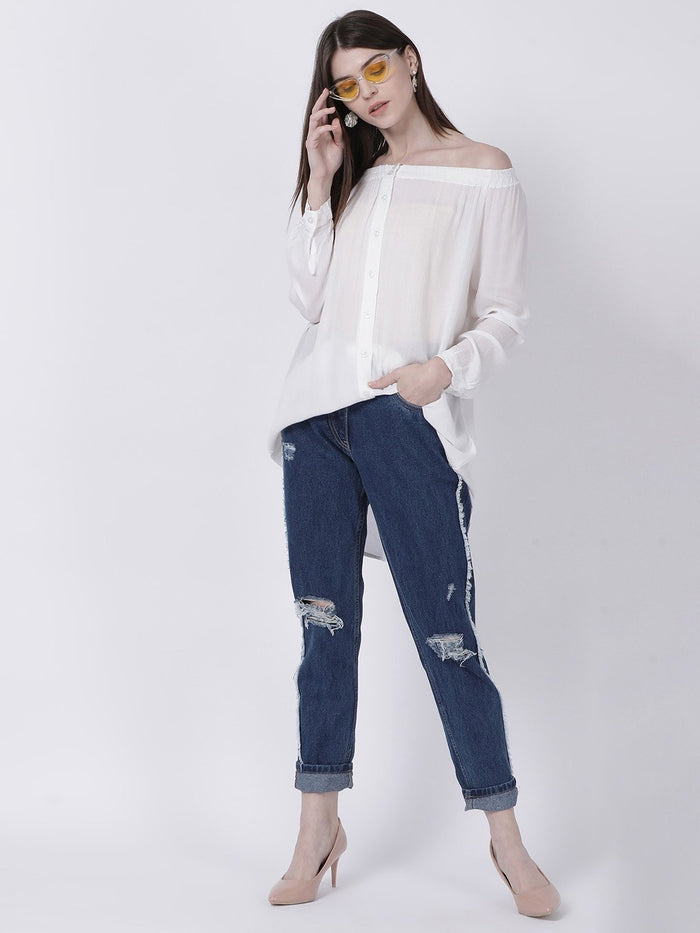 Rayon Crepe Off Shoulder Top