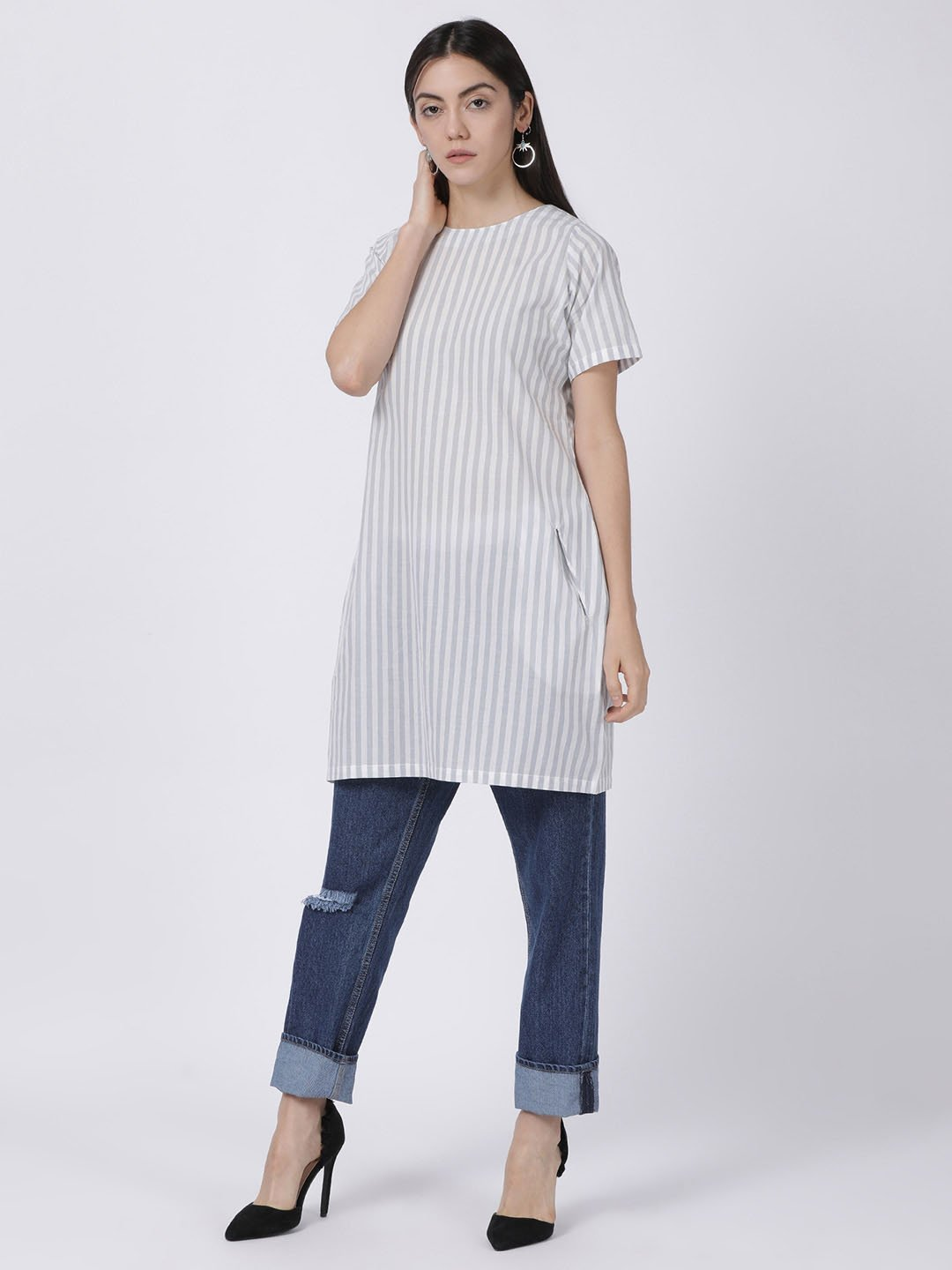 Grey Half Sleeve Striped Dress