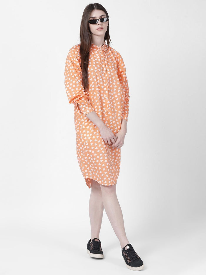 Orange Heart Print Shift Dress - Rossbelle