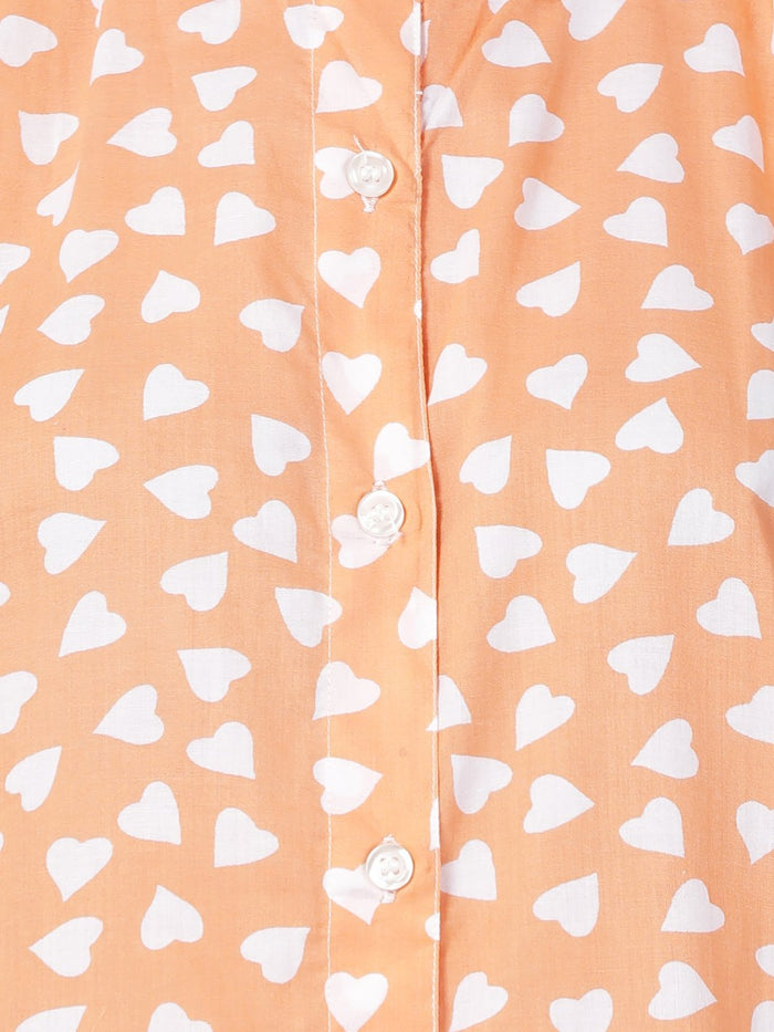 Orange Heart Print Shift Dress