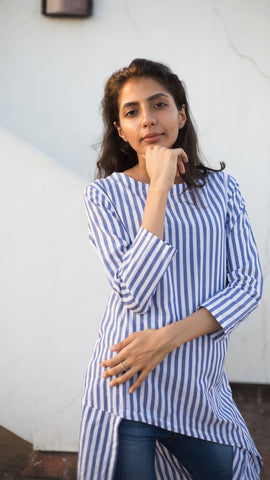 Asymmetrical Blue Striped Tunic - Rossbelle