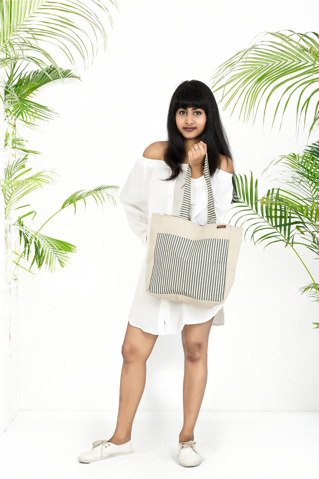 Natural Stripes Tote Bag - Rossbelle