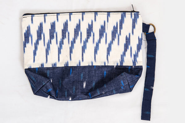 Navy Blue Ikat Pouch - Rossbelle