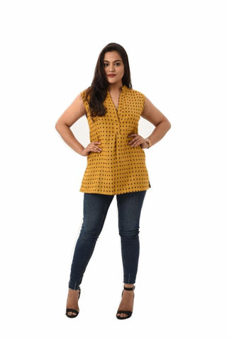 Sleeveless Reversible Printed Top - Yellow - Rossbelle