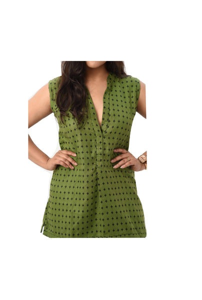 Sleeveless Reversible Printed Top - Green - Rossbelle