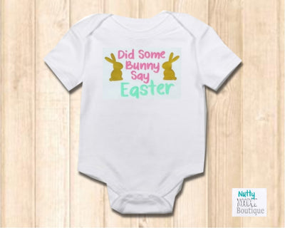 New Cute Slogan Baby Grow - Did Some Bunny Say Easter - Pink Vinyl