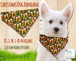 Dog Bandana - Festive Carrots Christmas Theme | Custom Name Options