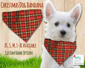 Dog Bandana - Christmas Plaid Print | Custom Name Options