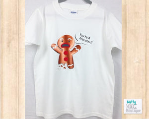 Christmas Youth T-Shirt: Funny Gingerbread Man Design