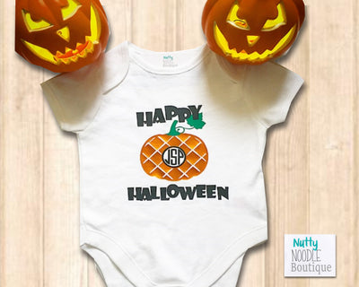 Halloween Baby Grow - Happy Halloween Personalised Monogram Pumpkin