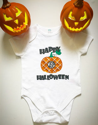 Happy Halloween Personalised Monogram Pumpkin Baby Grow