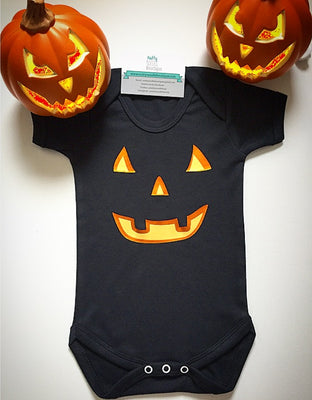 Halloween Scary Pumpkin Face Baby Grow