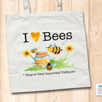Canvas Tote Shopper Bag - I Heart Bees Slogan Watercolour Illustration