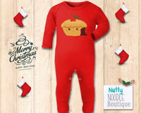 Christmas Kawaii Mince Pie Illustration Baby Onesie/Romper