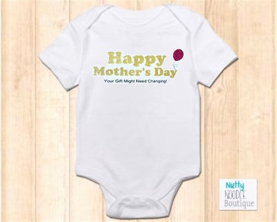 Baby Grow - Happy Mother's Day | Gold Glitter Effect