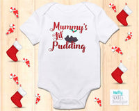 Christmas Pudding Glitter Effect Baby Grow: Mummy's Lil' Pudding