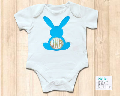 Baby Grow - Cute Blue Bunny | Personalised Monogram